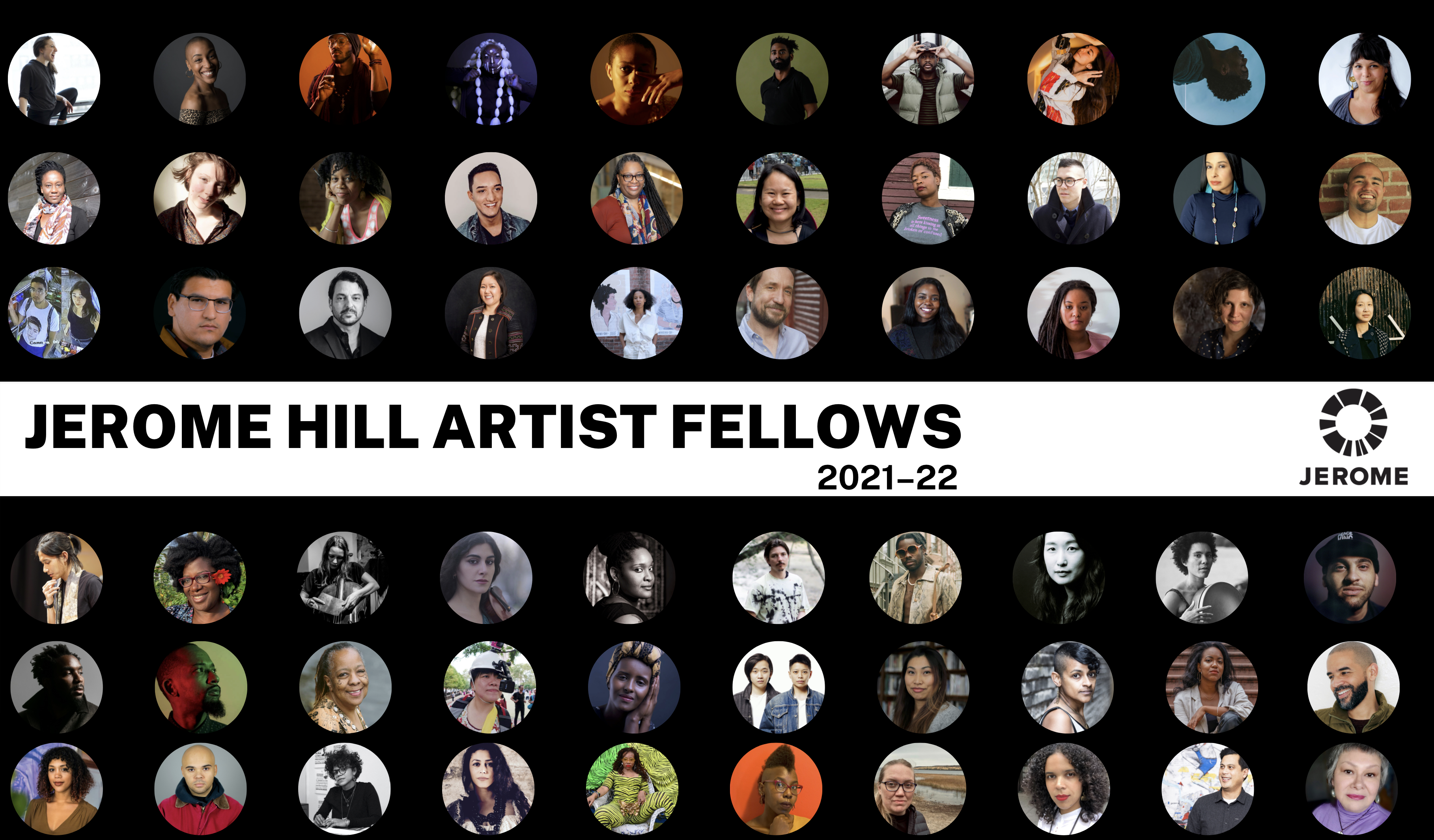 Banner image featuring pictures of all Jerome Hill Artist Fellows for 2021-22