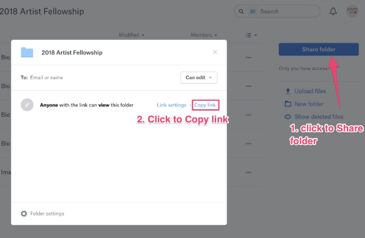 Screenshot showing how to get a shared link in Dropbox