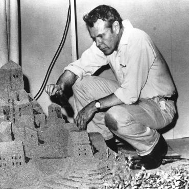 Jerome Hill on the set of The Sand Castle.