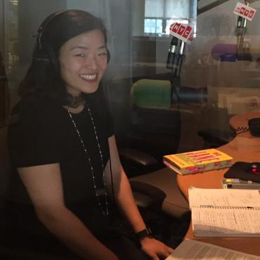 Patricia Park in the studio of WNYC