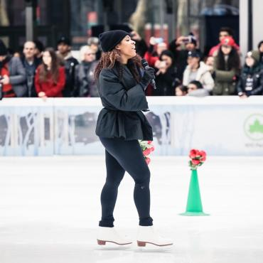 """Breaking Ice: Battle of the Carmens"" by Alicia Hall Moran, performed live on ice at Bryant Park, 2018."