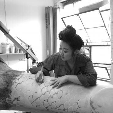 "Working on ""A Kind of Pain"" at her studio in Brooklyn"